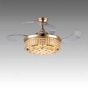 Suspension ventilateur LED en acrylique L108cm or fleur pour salon