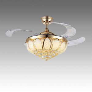 Suspension ventilateur LED en acrylique L108cm or pétale pour salon