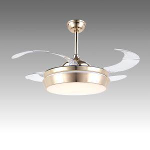 Suspension ventilateur LED en acrylique L108cm or clair pour salon
