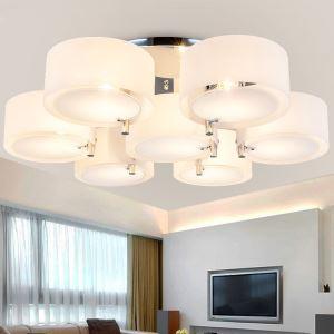 Plafonnier acrylique à 7 lampes D85cm pour salon moderne