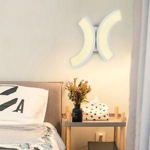 Applique murale LED en acrylique L20cm 2 arc blanc pour chambre salle