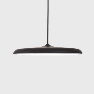 Suspension LED en acrylique D40cm rond noir/or pour salle cuisine