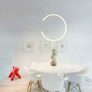 Suspension LED en silicone acrylique L39cm rond incomplet blanc en pour salle cuisine