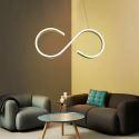 Suspension LED en L57cm en silicone acrylique flot blanc pour salle cuisine