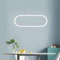 Suspension LED en L60cm en silicone acrylique ellipse blanc pour salle cuisine