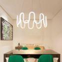Suspension LED en L40cm en silicone acrylique flot blanc pour salle cuisine