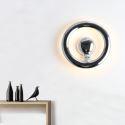 Applique murale LED en acrylique L24cm rond argentpour chambre salle
