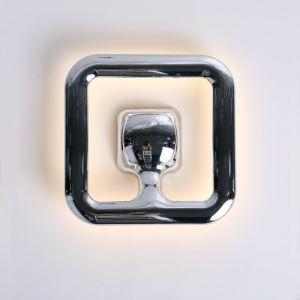 Applique murale LED en acrylique L25cm carré argent pour chambre salle
