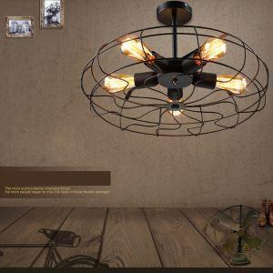 Lustre à 4 lampes D 45 cm industriel pour restaurant
