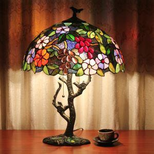 Lampe à poser Tiffany à 2 lumières H56cm lampe de chevet luminaire pour chambre délicat design