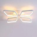 Plafonnier LED en acrylique L53cm 4 losanges blanc pour chambre salon