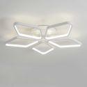 Plafonnier LED en acrylique L53cm 5 losanges blanc pour chambre salon