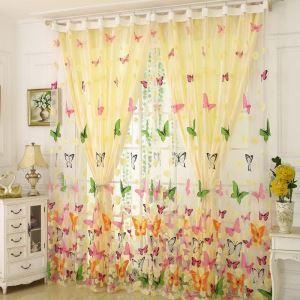 Voilage imprimé papillon coloré pour chambre à coucher pastoral romantique