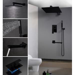 Colonne de douche encastrée avec douchette D 25 cm peinture noir pour salle de bains