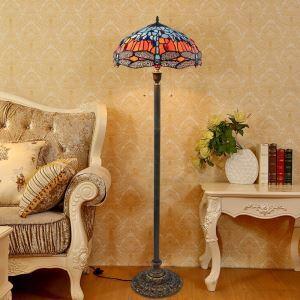 Lampadaire tiffany en verre H165cm libellule fleur bleu pour salle