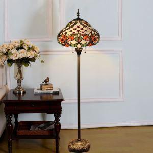 Lampadaire tiffany en verre H165cm feuille coloré pour salle