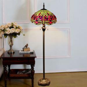 Lampadaire tiffany en verre H165cm libellule jaune pour salle
