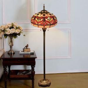 Lampadaire tiffany en verre H165cm motif rétro pour salle