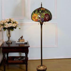 Lampadaire tiffany en verre H165cm pivoine magnifique pour salle