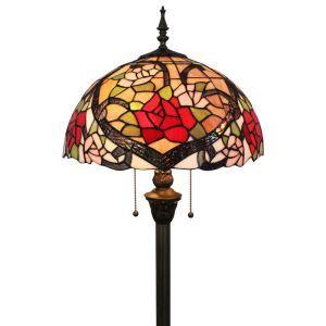 Lampadaire tiffany en verre H165cm pivoine tige pour salle