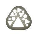 Plafonnier LED en résine L21cm triangle arrondi gris pour chambre salon