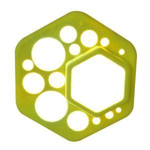 Plafonnier LED en résine D24cm hexagone vert clair pour chambre salon