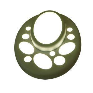 Plafonnier LED en résine H22cm ellipse vert pour chambre salle