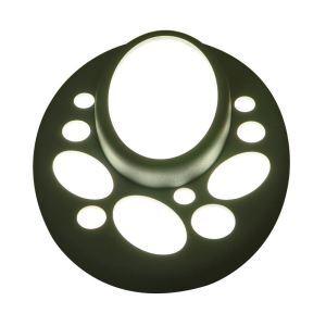 Plafonnier LED en résine H22cm ellipse vert foncé pour chambre salon