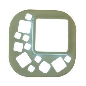 Plafonnier LED en résine D22cm quadrilatère arrondi vert clair pour chambre salle