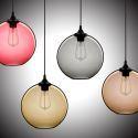 Suspension bulle verre D25cm 60W bulle coloris luminaire cuisine décoratif pas cher