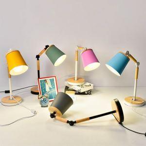 Lampe à poser en bois métal H50cm pliable et rotatif pour chambre bureau post-moderne