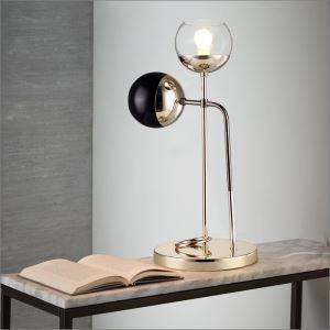 Lampe à poser en métal verre à pied H58cm pour chambre bureau