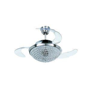 Suspension ventilateur LED en métal chromé L108cm petit cristal pour salon chambre