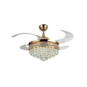 Suspension ventilateur LED en métal PVD L108cm boule de cristal pour salon chambre