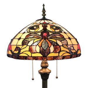 Lampadaire tiffany en verre H165cm motif magnifique pour salle