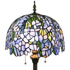 Lampadaire tiffany en verre H165cm rameau florifère bleu pour salle