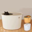Bac à litière semi-fermé pour chat