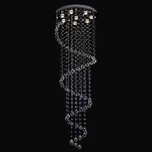 Plafonnier cristal LED à 8 lampes H170cm luxe ampoule incluse pour salon