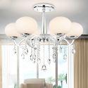 Lustre cristal à 6 lampes D72cm pour salon moderne