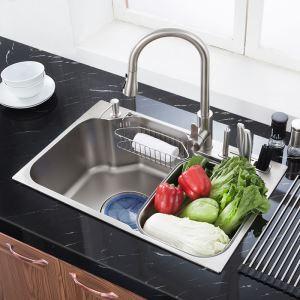 Evier en acier inoxydable 304 L72cm avec 1 bac 1 tuyeau de raccord 1 distributeur de savon 2panier de vidange pour cuisine 1 porte outil