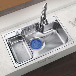 Evier en acier inoxydable 304 L78cm avec 1 bac 1 tuyeau de raccord 1 distributeur de savon 2panier de vidange pour cuisine