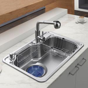 Évier en acier inoxydable 304 L68cm avec tuyeau de raccord distributeur de savon panier de vidange*2