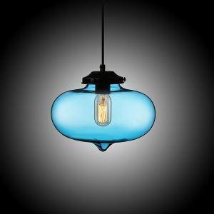Suspension boule en verre D27cm bulle moderne bleu pour chambre restaurant