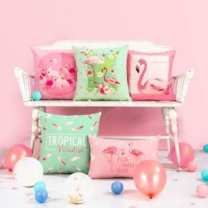Taie de coussin oreiller lombaire flamingo romantique doux