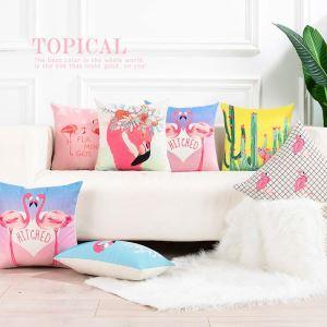 Taie de coussin oreiller lombaire flamingo romantique moderne