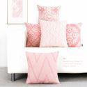 Taie de coussin en lin motif géométrique rose moderne doux