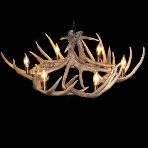 Lustre à 6 lumières résine ramure cerf artistique D 70 cm pour restaurant salon