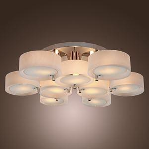 Plafonnier acrylique à 9 lampes chrome D 102.5 cm pour salon salle