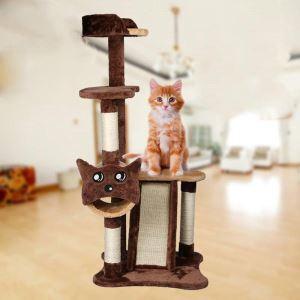 Étagère d'escalade griffoir niches colonne en bois velours brun pour chat