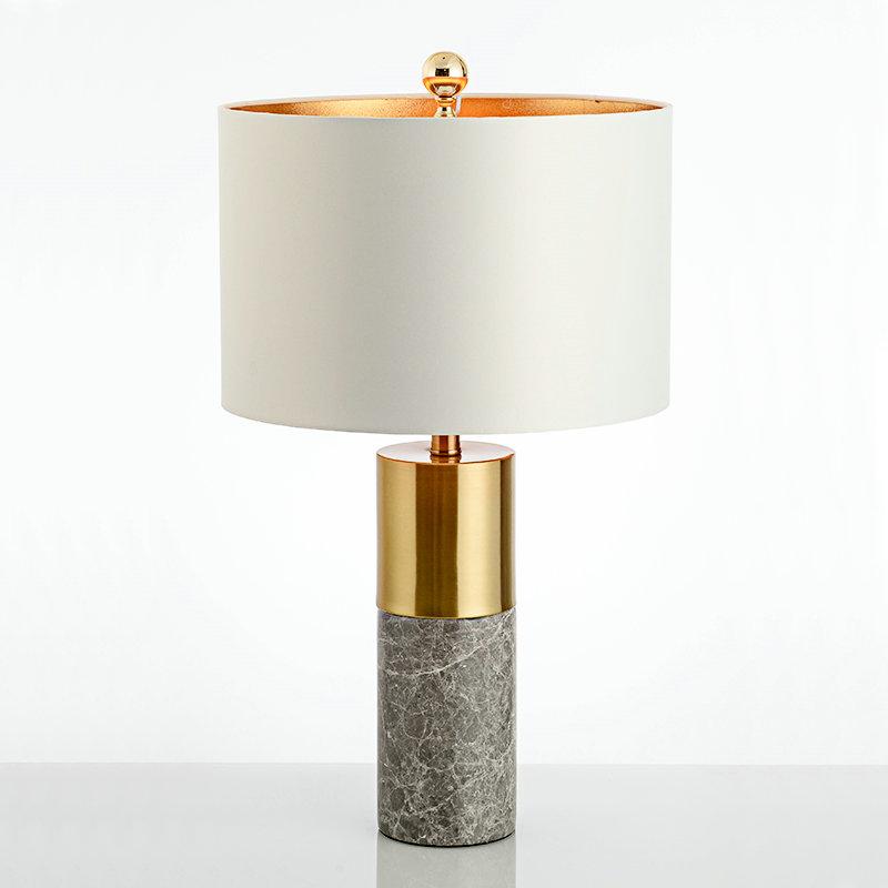 Cylindre Pour En De Lampe Salon Blanc Tissu H68cm Fer Poser À Abat Marbre Bas Jour Chambre QhdrCxsBt